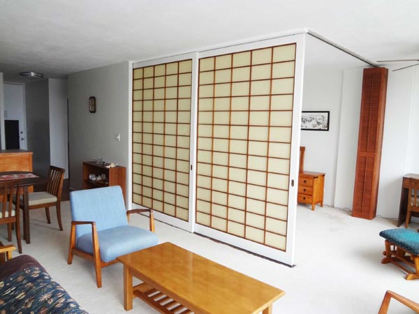 Bedroom with Shoji doors closed.